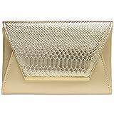 Caspar TA386 stylische große Damen Envelope Clutch Tasche Abendtasche mit Kroko Applikation