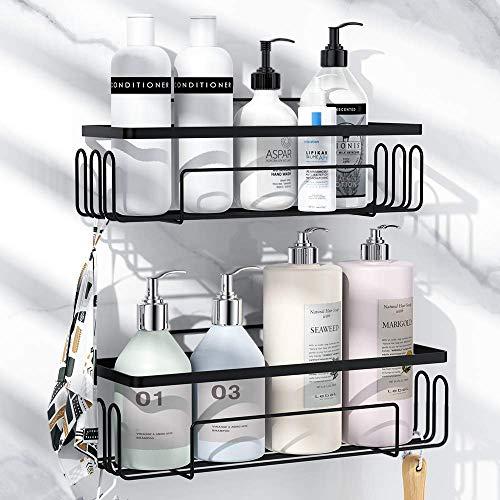 浴室用ラック 強力粘着固定 お風呂の壁に ステンレス シャワーラック 水切り 風呂場洗面所収納壁掛け棚 収納ラック 2段式… (多機能ラック)