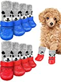 8 Pieces Dog Socks Non Slip Paw Protectors with Straps and Rubber Sole Outdoor Waterproof Grippers Dog Socks Boots Hardwood Floors Paw Protectors for Small Medium Pets Dogs Cats (Bear, Medium)