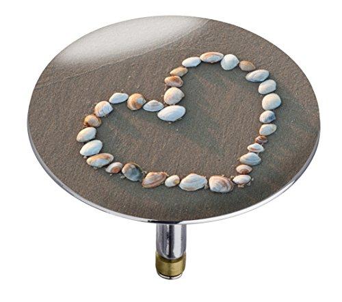 Wenko 21842100 Badewannenstöpsel Pluggy XXL Shell heart, Abfluss-Stopfen, für alle handelsüblichen Abflüsse, Kunststoff, 7,5 x 6 x 7,5 cm, mehrfarbig