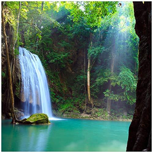 Wallario Glasbild Wasserfall im Wald am See Idylle in Thailand - 50 x 50 cm in Premium-Qualität: Brillante Farben, freischwebende Optik
