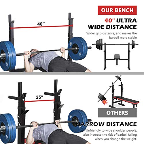 40-inch Wide Adjustable Barbell Rack ER KANG Weight Bench with 6-Level Height-Adjustable Olympic Workout Bench for Home Gym, Strength Training