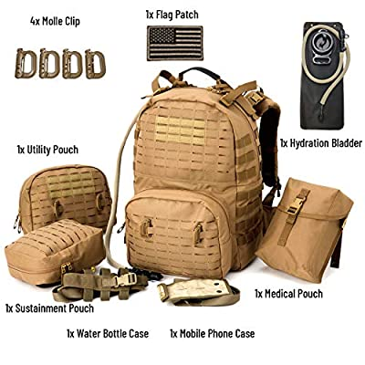 MT Military Tactical Backpack, Medium Molle Rucksack,Army Day Hydration Pack with Sustainment and Medical Kits Pouch