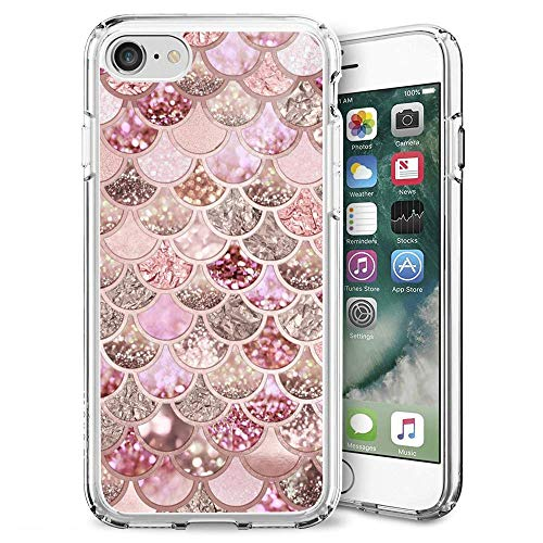 iPhone SE 2nd Generation Case Pink Mermaid Scales Pattern Crystal Print Soft Super Clear Scratch-Proof Protective -Clear (Pink Mermaid Scales)