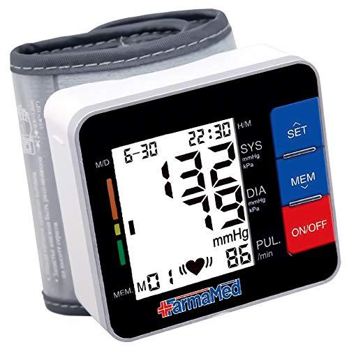 FARMAMED Digitale Tragbar Handgelenk-Blutdruckmessgeräte, 180 Speicherplätze gesamt, 2 Benutzer, großer LCD-Bildschirm, Tragetasche geliefert