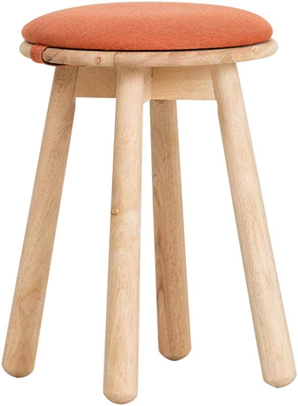 XSJ Footstools Solid Wood Stool Small Stool Creative Dining Stool Computer Stool Leisure Stool Nordic Modern Dressing Stool Change Shoe Stool Higt49 34 34 Color Orange