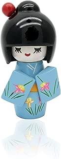 XMHF Wooden Japanese Style Kimono Kokeshi Doll Desk Ornament Blue