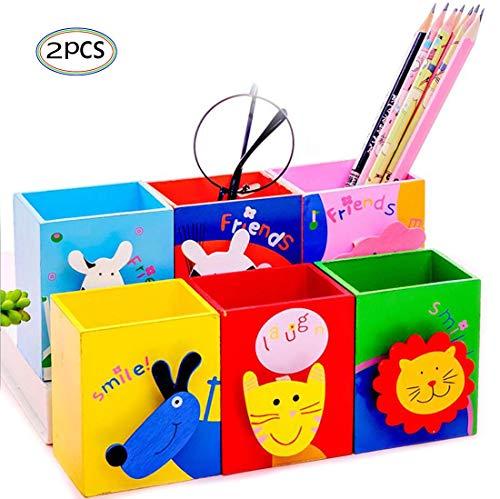 Stiftköcher mit Zettelhalter 2 Stücke aus Holz für Kinder Studenten Stifthalter Schreibtisch Organizer für Büro Stiftköcher für Bleistift Kugelschreiber Süßes Design (2 Zufällige Farben)