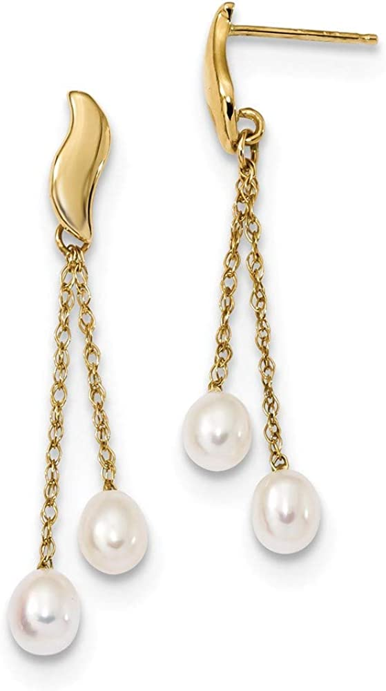 14k Yellow Gold 5mm White Rice Freshwater Cultured Pearl Drop Dangle Chandelier Post Stud Earrings Fine Jewelry For Women Gifts For Her