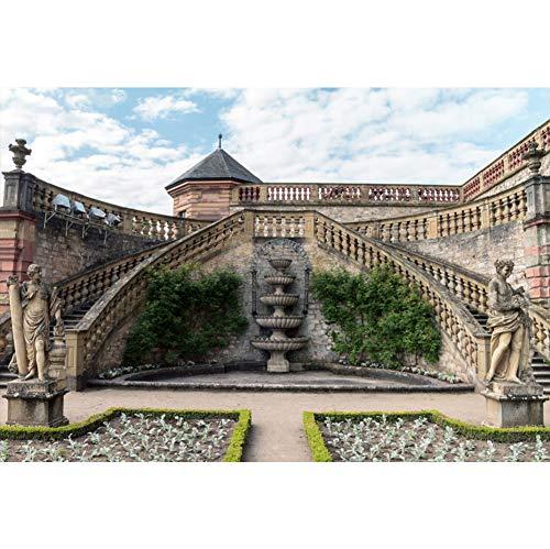 YongFoto 3x2,5m Gebäude Fotografie Hintergrund Kulturelle Architektur Mittelalterliche Burg Ruinen Skulptur Brunnen Hintergrund Liebhaber Hochzeit Porträt Frühling Foto Requisiten