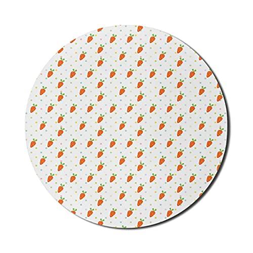 Cartoon-Mauspad für Computer, Kinder-Kinderzimmer-themenorientiertes Gemüsemuster mit bunten Punkten und Baby-Karotten, rundes rutschfestes dickes Gummi-modernes Gaming-Mauspad, 8 rund, mehrfarbig