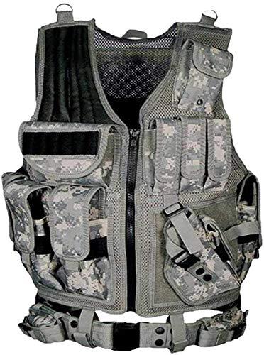 Gilets Veste Tactique Multi-Poches Chasse armée CS Swat Camping Randonnée Accessoires Liuyu. (Color : ACU, Size : Adult Size)