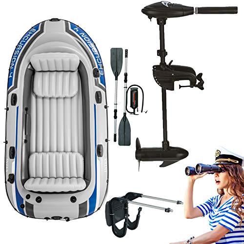 Intex Motorboot Schlauchboot mit Aussenbordmotor + Heckspiegel + Paddel, Pumpe Set für 4 Personen Komplettset
