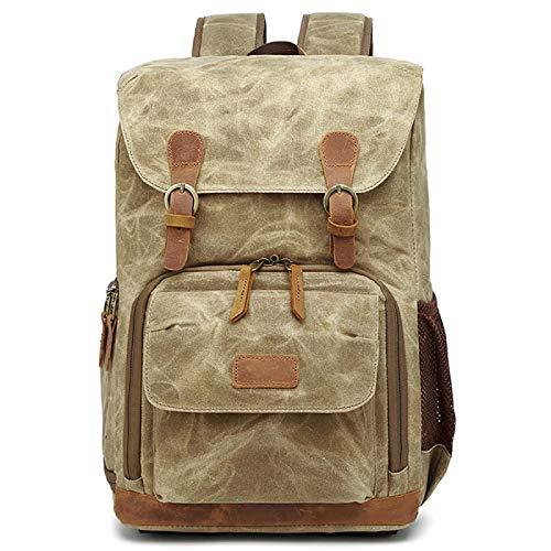 Camera Canvas Backpack, Photography Bag, Large Capacity Waterproof Anti-shock Camera Rucksack,Khaki