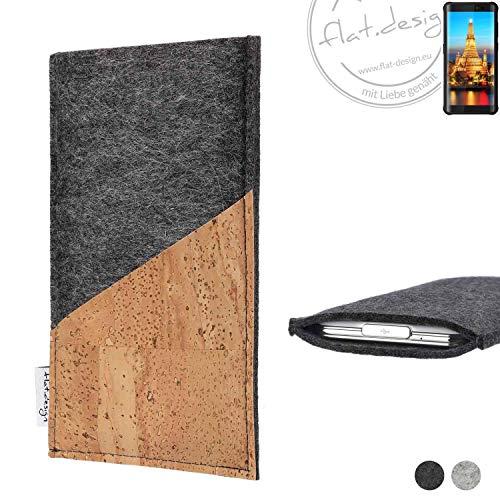 flat.design Handy Hülle Evora für Energizer H590S handgefertigte Handytasche Kork Filz Tasche Case fair dunkelgrau