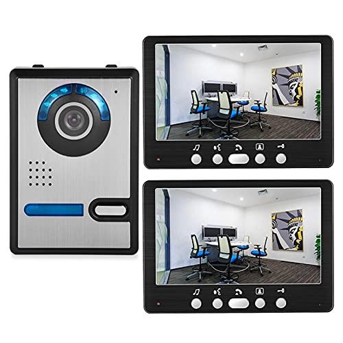 Timbre con video, intercomunicador, kit de sistema de seguridad para el hogar con videoportero de 7 pulgadas para apartamento, cámara de visión nocturna para exteriores + 2 monitores
