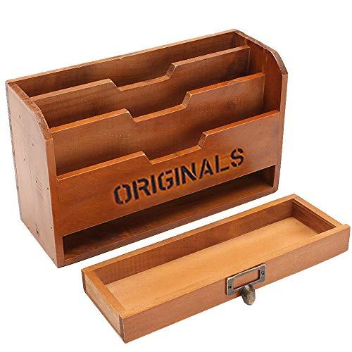 Organizador de Escritorio de Madera, Papelería Rack con Cajón para Oficina Caja de Almacenamiento para Documentos, Bolígrafos, Libros, Cuadernos y Archivos