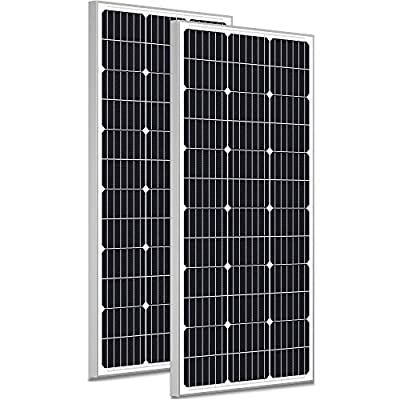 SOLPERK 200W Solar Panel 12V, Monocrystalline Solar Panel Kit with High Efficiency Module PV Power for Battery Charging, Off Grid Solar Panels for RV, Boat, Camper, Roof, Cabin, Shed, Home 2 Packs