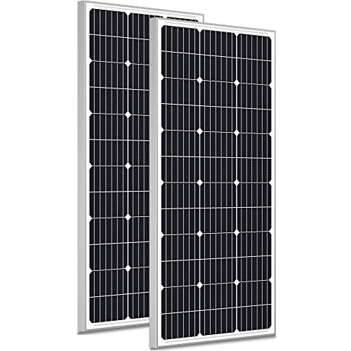 SOLPERK 200W Solar Panels 12V, Monocrystalline Solar Panel Kit with High Efficiency Module PV Power for Battery Charging, Off Grid Solar Panels for RV, Boat, Camper, Roof, Cabin, Shed, Home 2 Packs