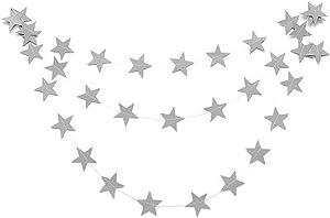MMRM 4M En Forme d'étoile Papier Guirlande Bruant Suspension Décoration Maison Xmas Fête Mariage - Argent