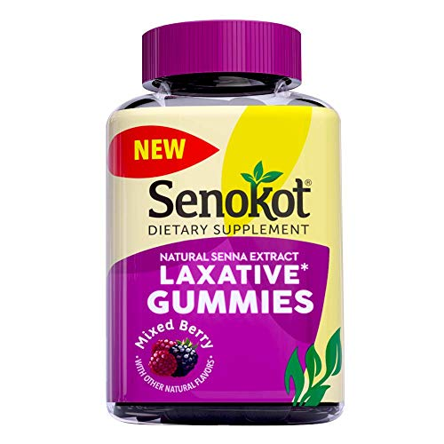 Senokot Laxative Gummies Dietary Supplement for Occasional Constipation Relief, Mixed Berry Flavor, 60 Count