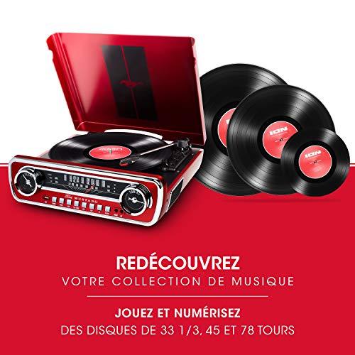 ION Audio Mustang LP - Chaîne Hi-Fi Rétro Ford Mustang 4-en-1 avec Platine Vinyle, Radio, Port USB...