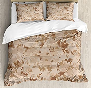 Ambesonne Camo Duvet Cover Set Queen Size US Marine Desert Marpat Digital Texture Background in Brown Colors Decorative 3 Piece Bedding Set with 2 Pillow Shams Brown Cinnamon