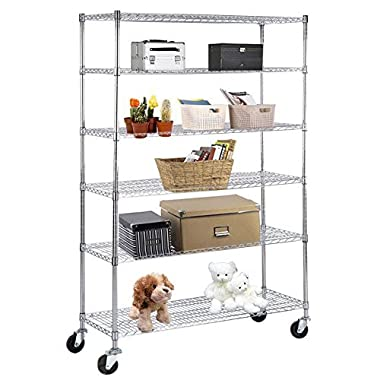 SUNCOO Wire Shelving Unit Storage Rack Metal Kitchen Shelf Stainless Steel Adjustable 6 Tier Shelves with Wheels Chrome 48  W x 82  H x 18  D