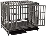 KELIXU 42' Heavy Duty Dog Crate Strong Metal Pet Kennel Playpen with Two Prevent Escape Lock, Large Dogs Cage with Four Wheels, Upgraded, Black