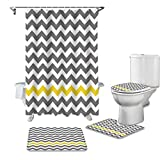 LEO BON Duschvorhang-Set mit Vorlegern & Handtüchern & Zubehör, gelb-grau gestreift, langlebig, wasserdicht, für Erwachsene & Kinder, 4-teilig