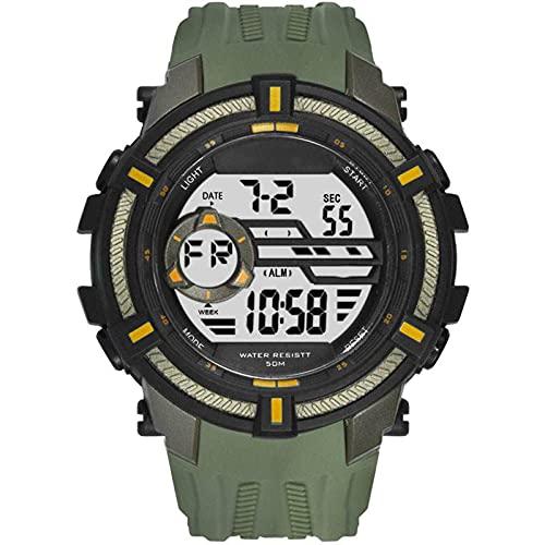 WNGJ Relojes Deportivos Gran dial electrónico 50 M Reloj Digital Impermeable para Hombre Resistente a Hombre Doal Pantalla de Pulsera Relojes electrónicos Relojes deporti Armygreen