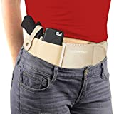 ComfortTac Ultimate Belly Band Holster for Concealed Carry | Fits Smith and Wesson Bodyguard, Shield, Glock 19, 17, 42, 43, P238, Ruger LCP, and Similar Sized Guns | for Men and Women (Nude - L - R)