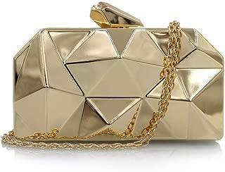 Handbag - Stylish Solid Metal Box Lady Handbag, High-end Retro Horizontal Square Evening Bag, Silver/black/gold, 17 * 3.5 * 10CM Fashion (Color : Gold)