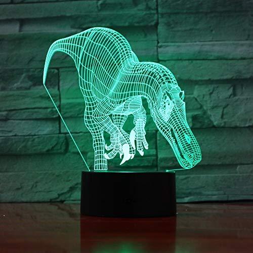 jiushixw 3D acryl nachtlampje met afstandsbediening kleur tafellamp dinosaurus en groen pak positie indoor indoor grijs groen collectie kerstkind elektrisch geschenk met afstandsbediening bureaulamp