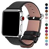 Fullmosa kompatibel Apple Watch Armband 42mm Leder in 15 Farben mit Edelstahlschliee, Schwarz...