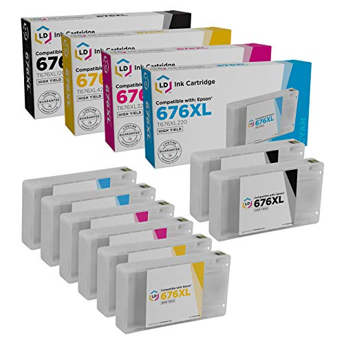 Price comparison product image LD Remanufactured Ink Cartridge Replacement for Epson 676XL High Yield (2 Black,  2 Cyan,  2 Magenta,  2 Yellow,  8-Pack)