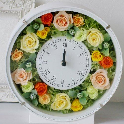 プリザーブドフラワー 花時計 イエロー/オレンジ