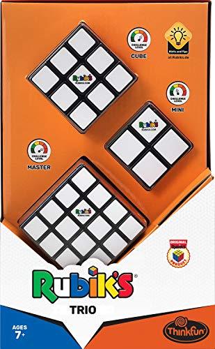 Thinkfun Rubik's Trio, Zauberwürfel Set mit dem Original Rubik's Cube 3x3, Rubik's Master 4x4 und Rubik's Mini 2x2, Ideales Geschenk-Set für Anfänger und Profis