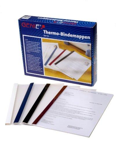 Genie 10258 Thermobindemappen (50 Mappen im Set in 4 verschiedenen Farben und Breiten, geeignet für jedes DIN A4 Thermobindegerät) 50er Pack