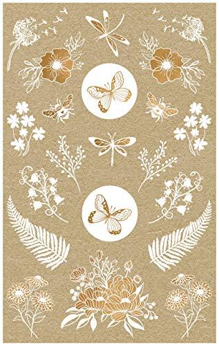 AVERY Zweckform Kraftpapier Aufkleber 42 Sticker Blumen (Papier Sticker, Geschenkaufkleber, natur, braun, beige) 57124