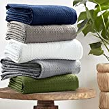 E DECOR 100% Cotton Blanket Twin Size 66X90 Knit Throw Waffle Weave Soft and Warm Light Weight Breathable PRE-Washed All Season Perfect Baby Blanket for Living Room Bed Sofa Couch (SAGE Green)