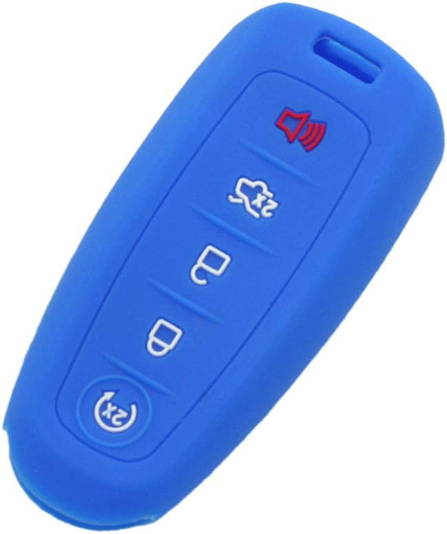 SEGADEN Silicone Cover Protector Case Skin Jacket Compatible with FORD LINCOLN 5 Button Smart Remote Key Fob CV8700 Light Blue