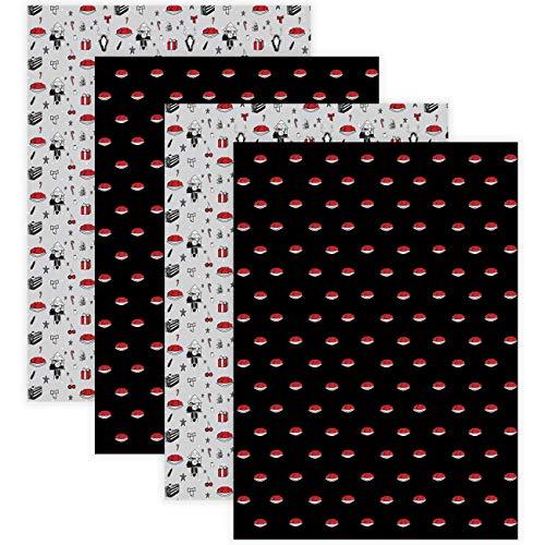 Schwarzwald Geschenkpapier Weihnachten | Set 4 Bögen Bollenhut schwarz Kuckucksuhr grau | Premium 100g Papier