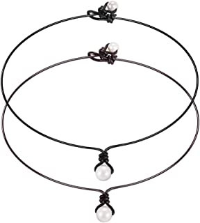 Single Cultured Freshwater Pearl Choker Necklace for Women Genuine Leather Cord Necklace Jewelry Set, Black & Brown