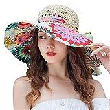 Sombrero de Verano para Playa al Aire Libre Protección Anti-UV Sombrero UPF 30,Sombrero de Playa de Gasa de Sombra, Sombrero de Paja con Protector Solar-Sun Flower Beige_Talla única