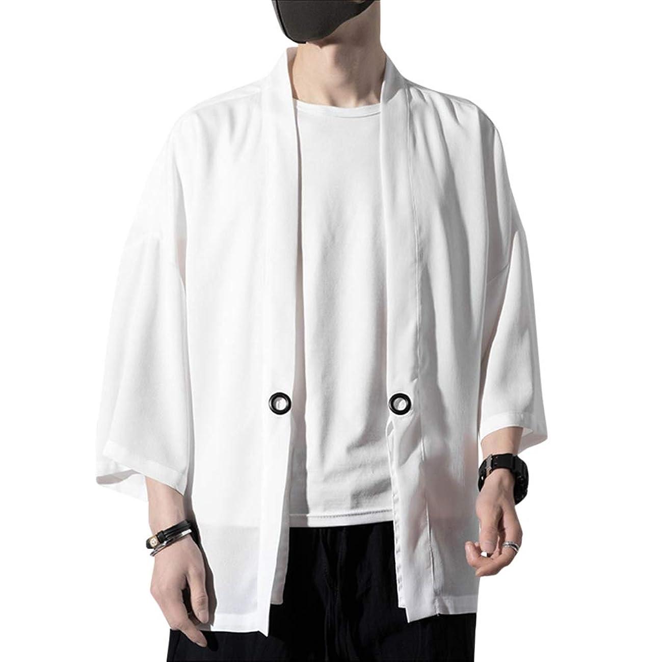 喜ぶ余裕があるスプーン[YFFUSHI]メンズ カーディガン 和式パーカー 七分袖 M-5XL ゆったり 純色