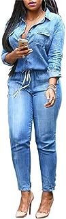 Molisry Women's Lapel V Neck Denim Jean Long Sleeve Jacket Distressed Skinny Long Pants Jumpsuits Rompers