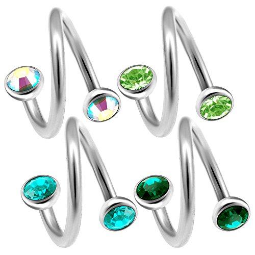 bodyjewelrytrend 4 Stück 1,2mm Piercing spirale 8mm Ohr Tragus Piercing augenbrauenpiercing Helix Cartilage schmuck Kristall-Halbkugel - E5XE5V