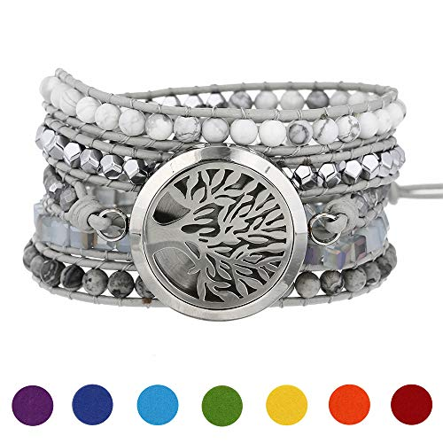 Plumiss Aromatherapy Essential Oil Diffuser Bracelets, Stainless Steel Locket Stone Bead Wrap Leather Bracelet with 7 Color Felt Pads (Tree of Life)
