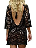 Paréo Femme Plage Mini Robes Grande Taille Tunique Pull Col V Kimono Bohême Mode Bikini Cover Up Crochet Blouse (One Size, Dos Nu Noir)